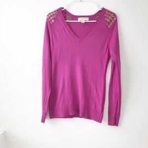 MICHAEL Michael Kors Grommets Vneck Sweater XS
